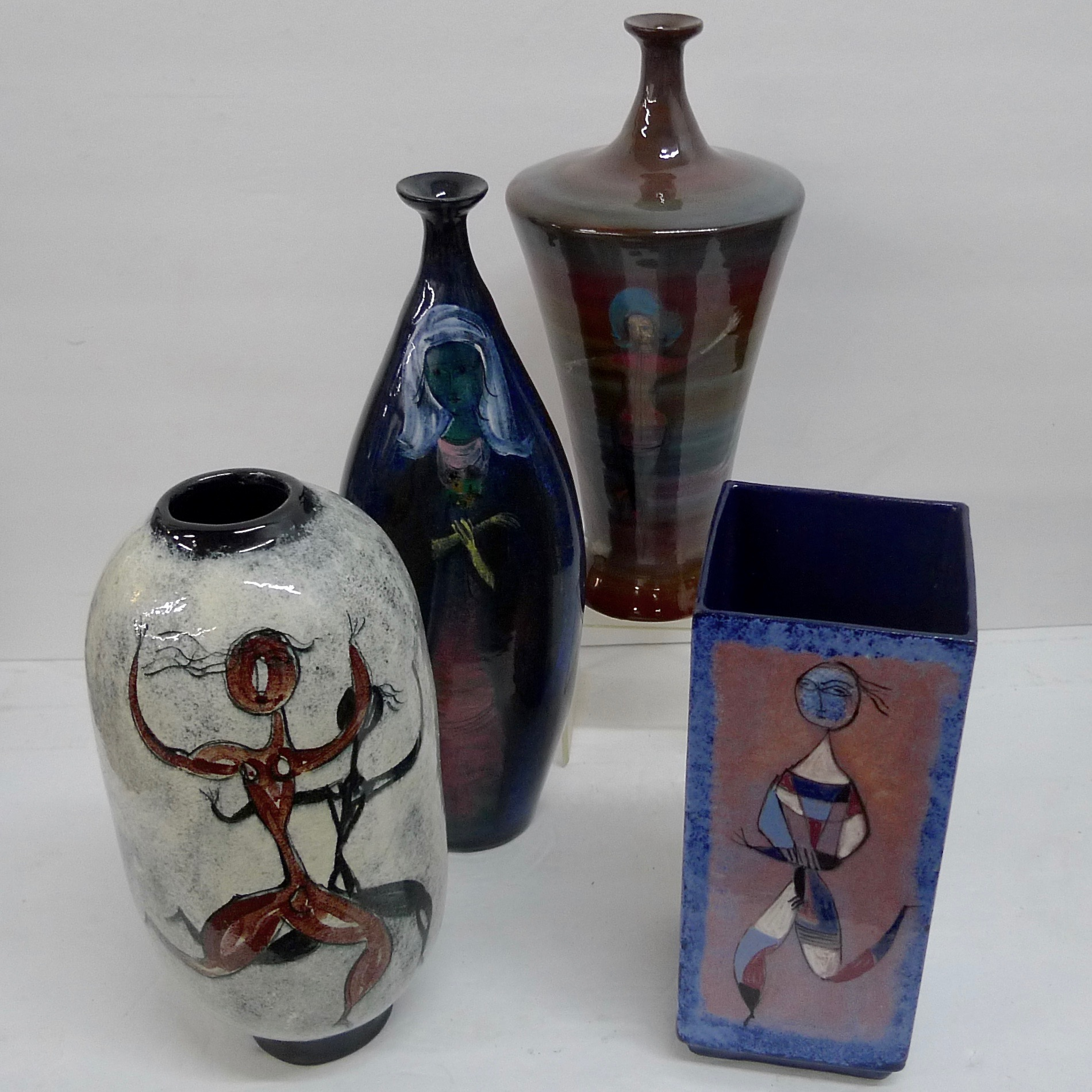 Tall Polia Pillin Vases - Wells Tile & Antiques   On-line