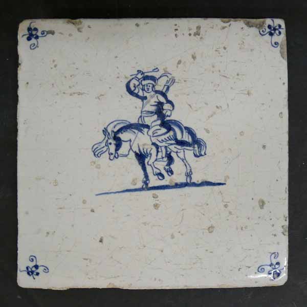 Man on Horse Antique Dutch Tile