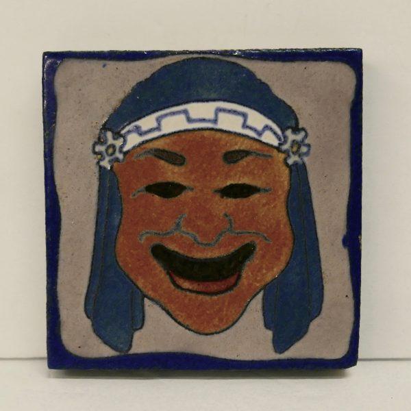 Flint Faience Tile Smiling Man